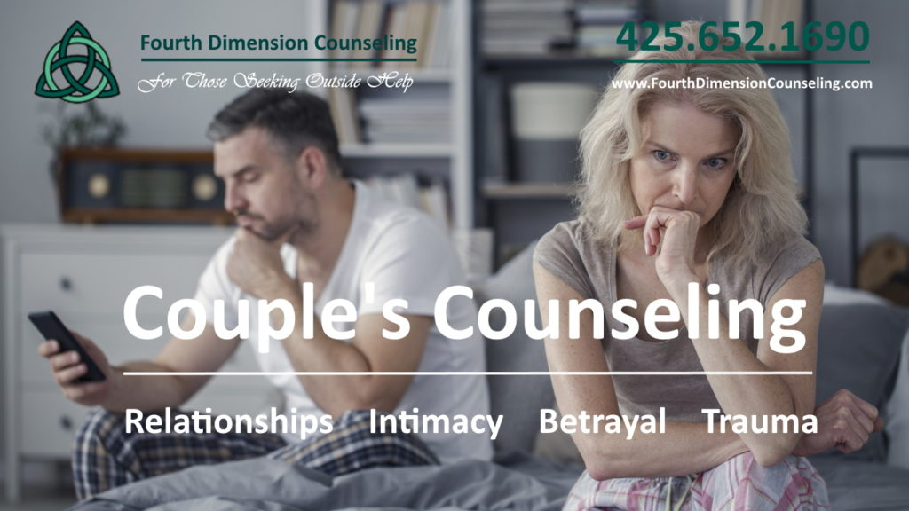 Couple in therapy with sex and pornography addiction and betrayed partner, codependency, counselor in Issaquah, Washington