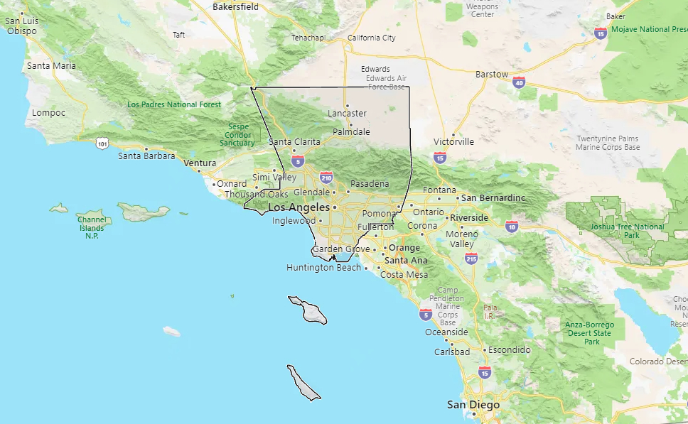 Los Angeles California Map Beverly Hills CA