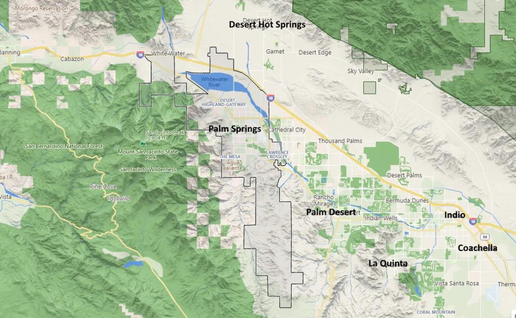 Palm Springs California Map including Coachella County Indio, La Quinta, Palm Desert
